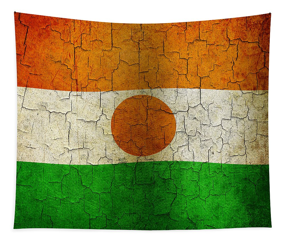 Aged Tapestry featuring the digital art Grunge Niger Flag by Steve Ball