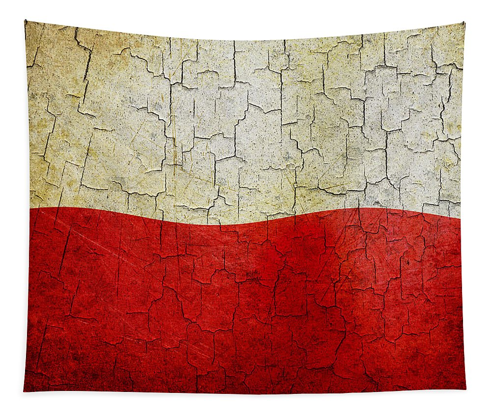 Aged Tapestry featuring the digital art Grunge Poland Flag by Steve Ball