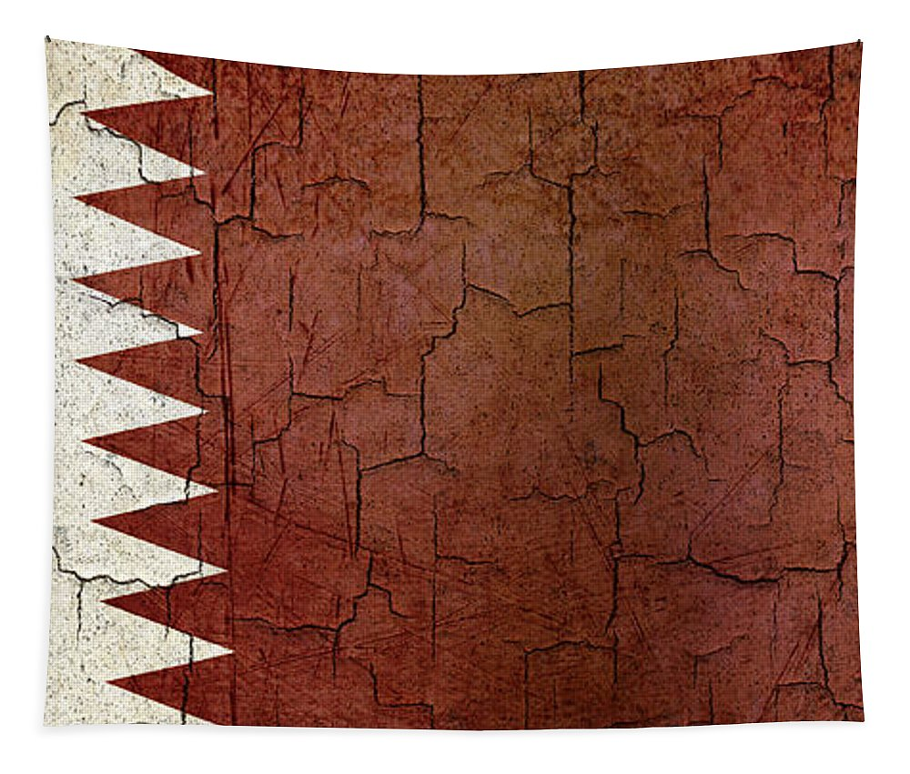 Aged Tapestry featuring the digital art Grunge Qatar Flag by Steve Ball
