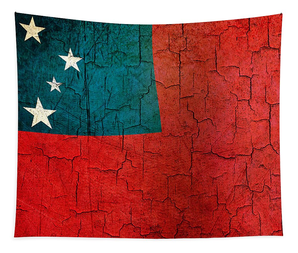 Aged Tapestry featuring the digital art Grunge Samoa Flag by Steve Ball