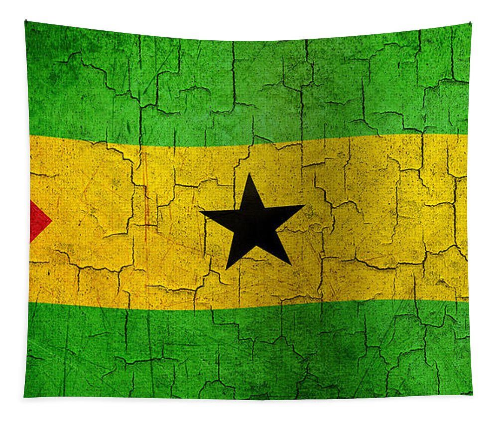 Sao Tapestry featuring the digital art Grunge Sao Tome And Principe Flag by Steve Ball
