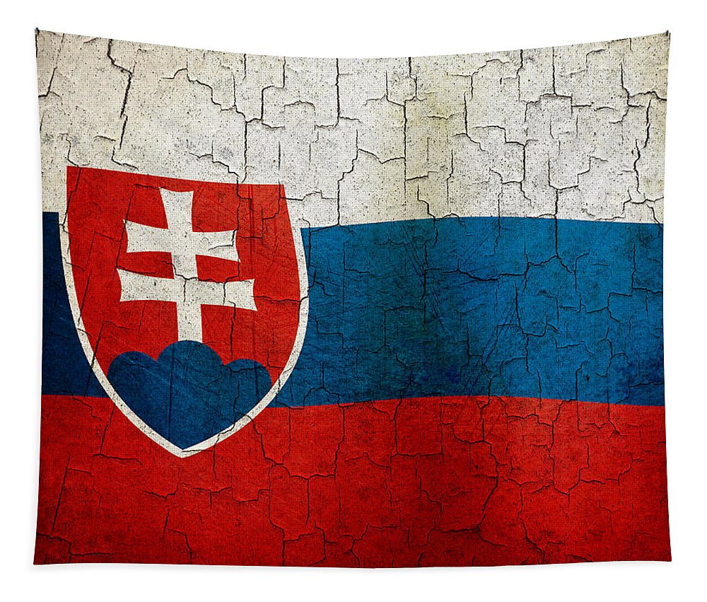 Aged Tapestry featuring the digital art Grunge Slovakia Flag by Steve Ball