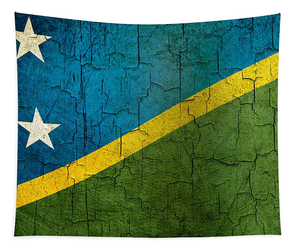 Aged Tapestry featuring the digital art Grunge Solomon Islands Flag by Steve Ball