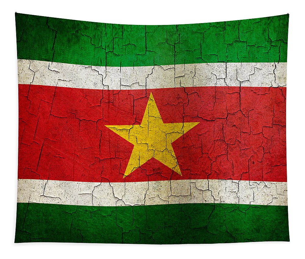 Aged Tapestry featuring the digital art Grunge Suriname Flag by Steve Ball