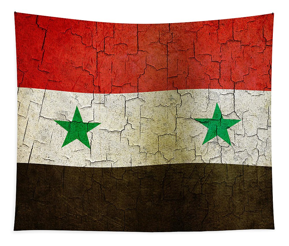 Aged Tapestry featuring the digital art Grunge Syria Flag by Steve Ball