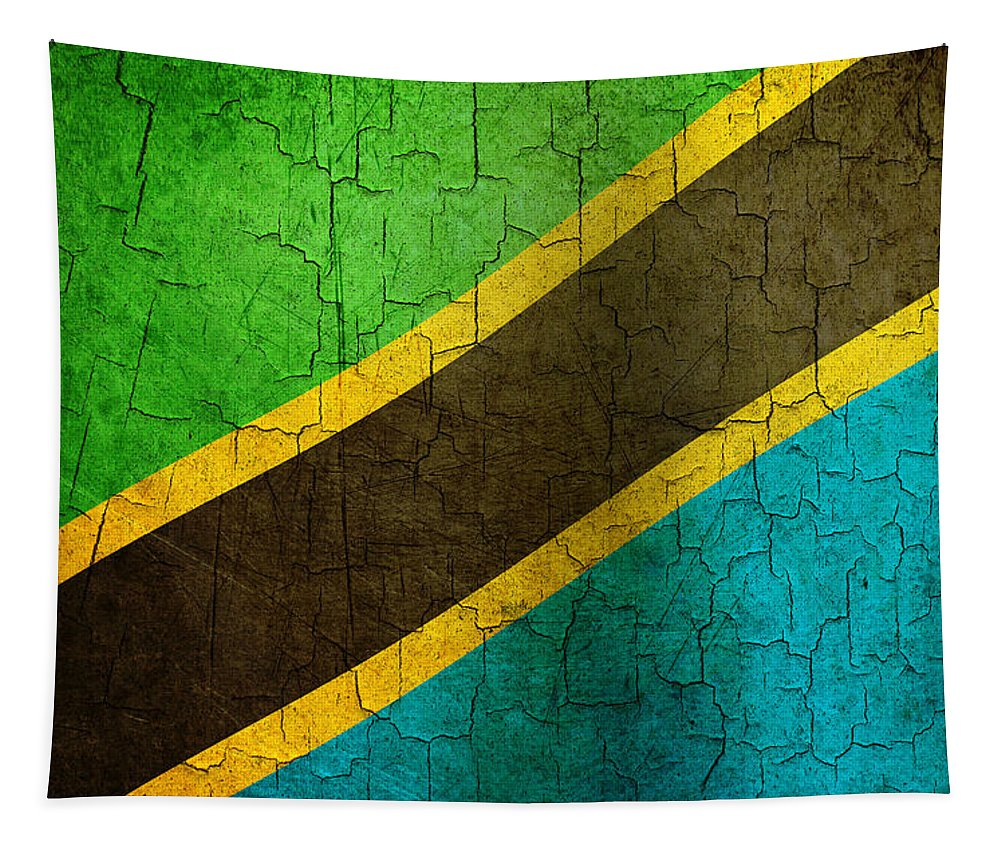 Aged Tapestry featuring the digital art Grunge Tanzania Flag by Steve Ball