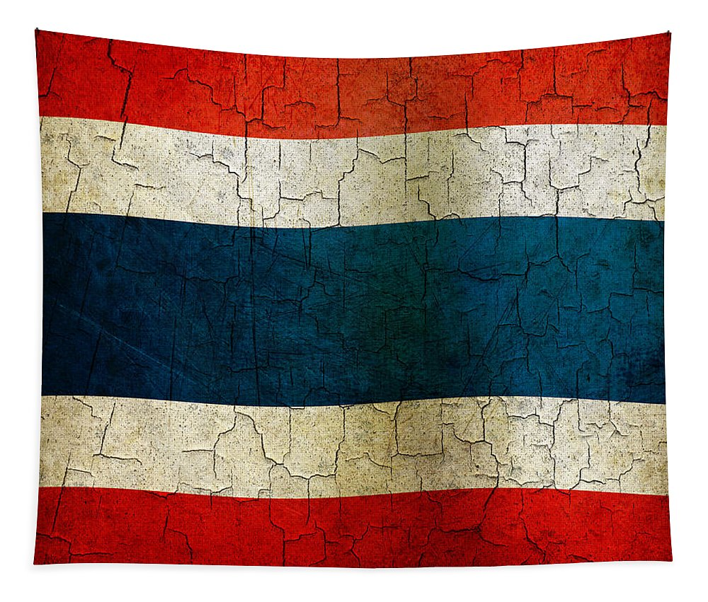 Aged Tapestry featuring the digital art Grunge Thailand Flag by Steve Ball