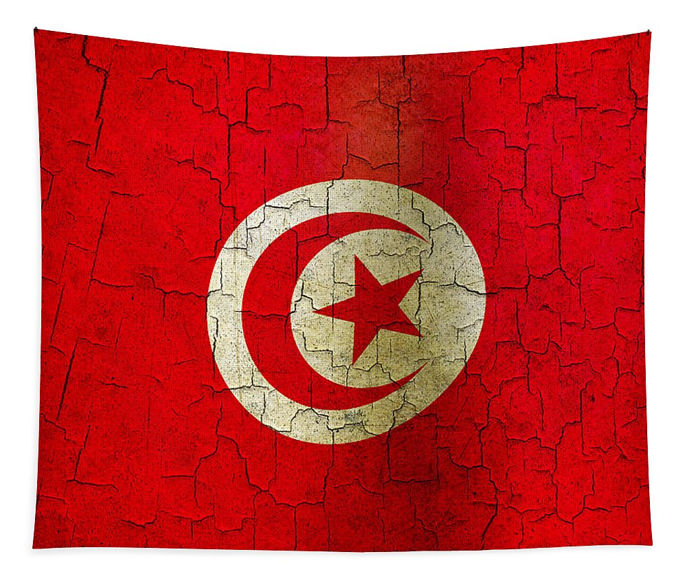 Aged Tapestry featuring the digital art Grunge Tunisia Flag by Steve Ball