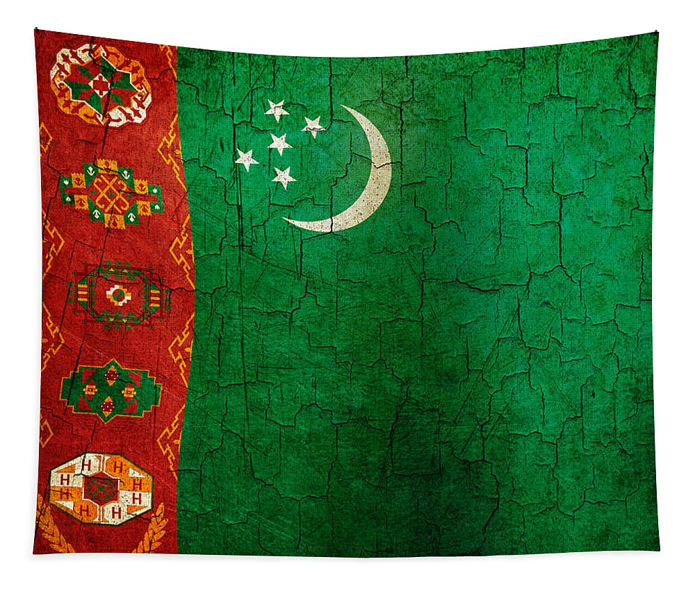 Aged Tapestry featuring the digital art Grunge Turkmenistan Flag by Steve Ball