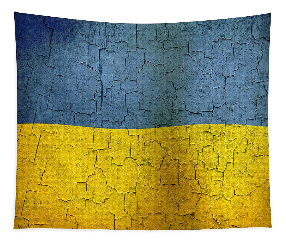 Aged Tapestry featuring the digital art Grunge Ukraine Flag by Steve Ball