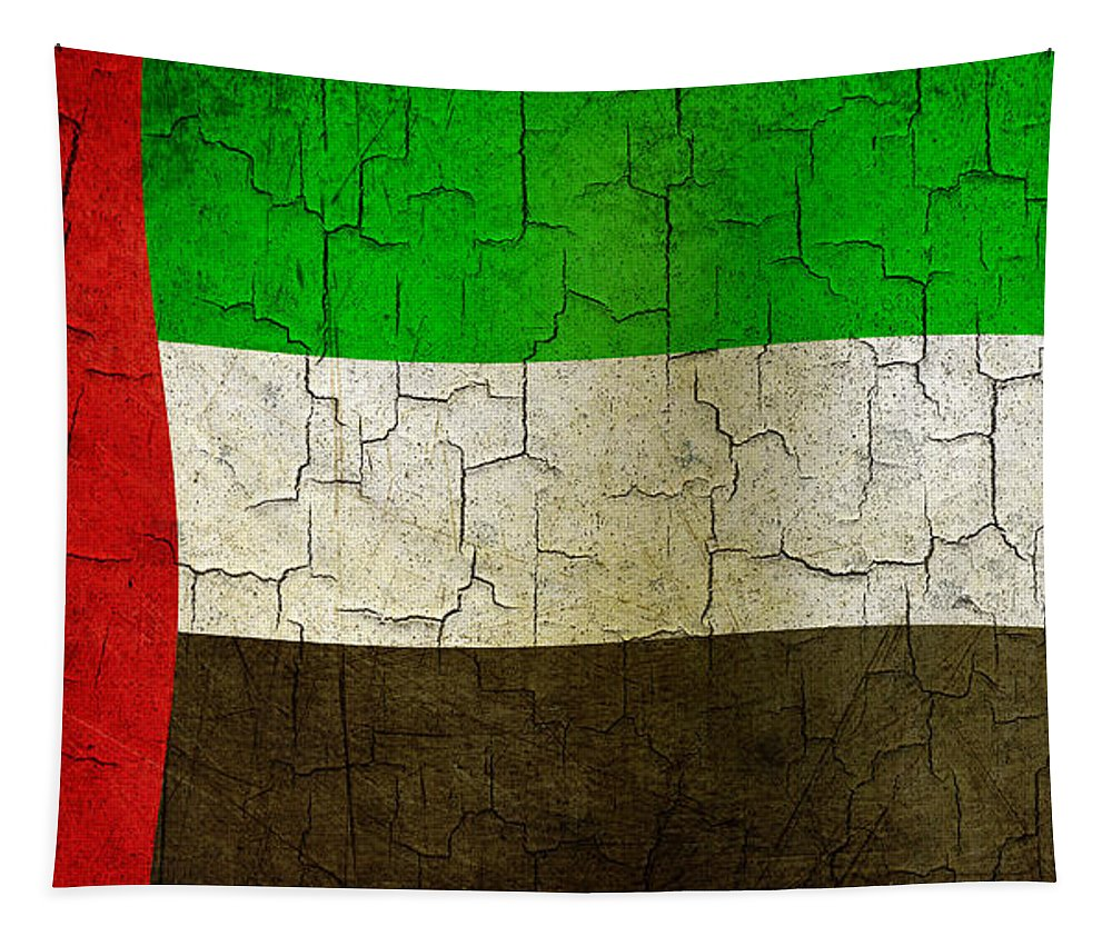 Aged Tapestry featuring the digital art Grunge United Arab Emirates Flag by Steve Ball
