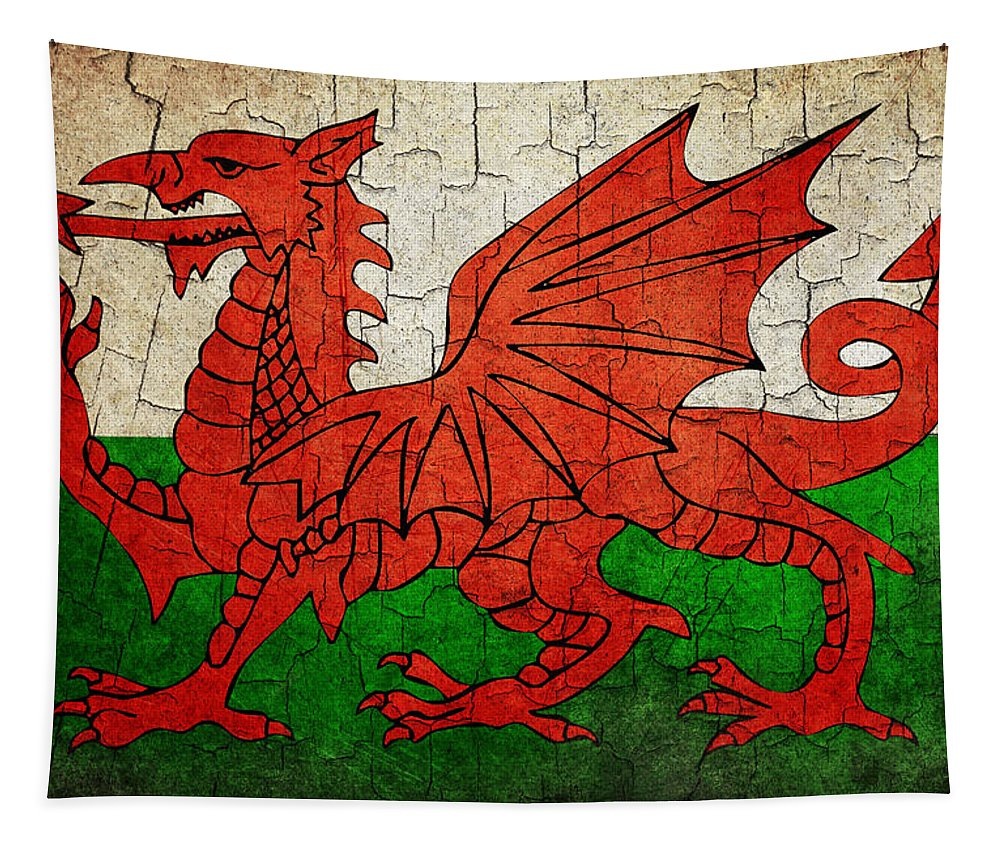 Aged Tapestry featuring the digital art Grunge Wales Flag by Steve Ball