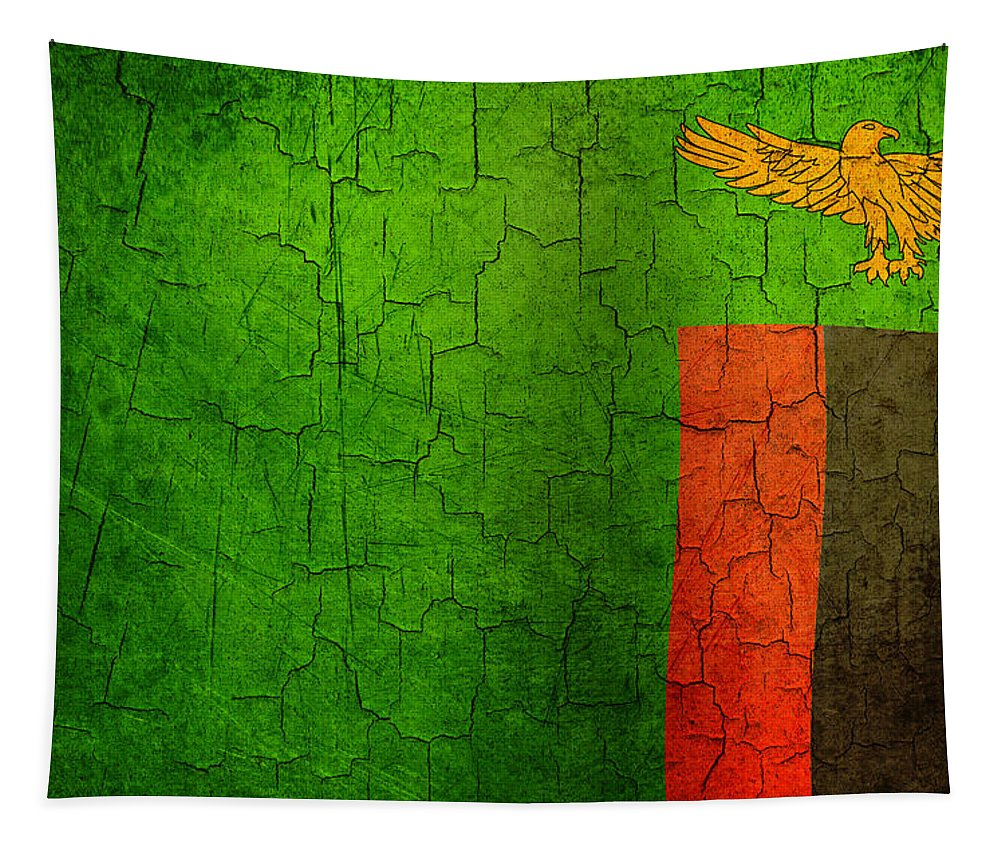 Aged Tapestry featuring the digital art Grunge Zambia Flag by Steve Ball