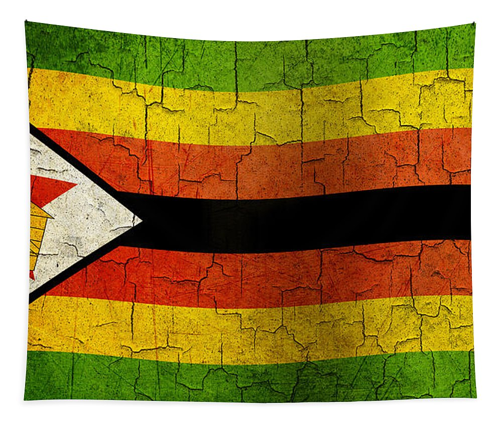 Aged Tapestry featuring the digital art Grunge Zimbabwe Flag by Steve Ball