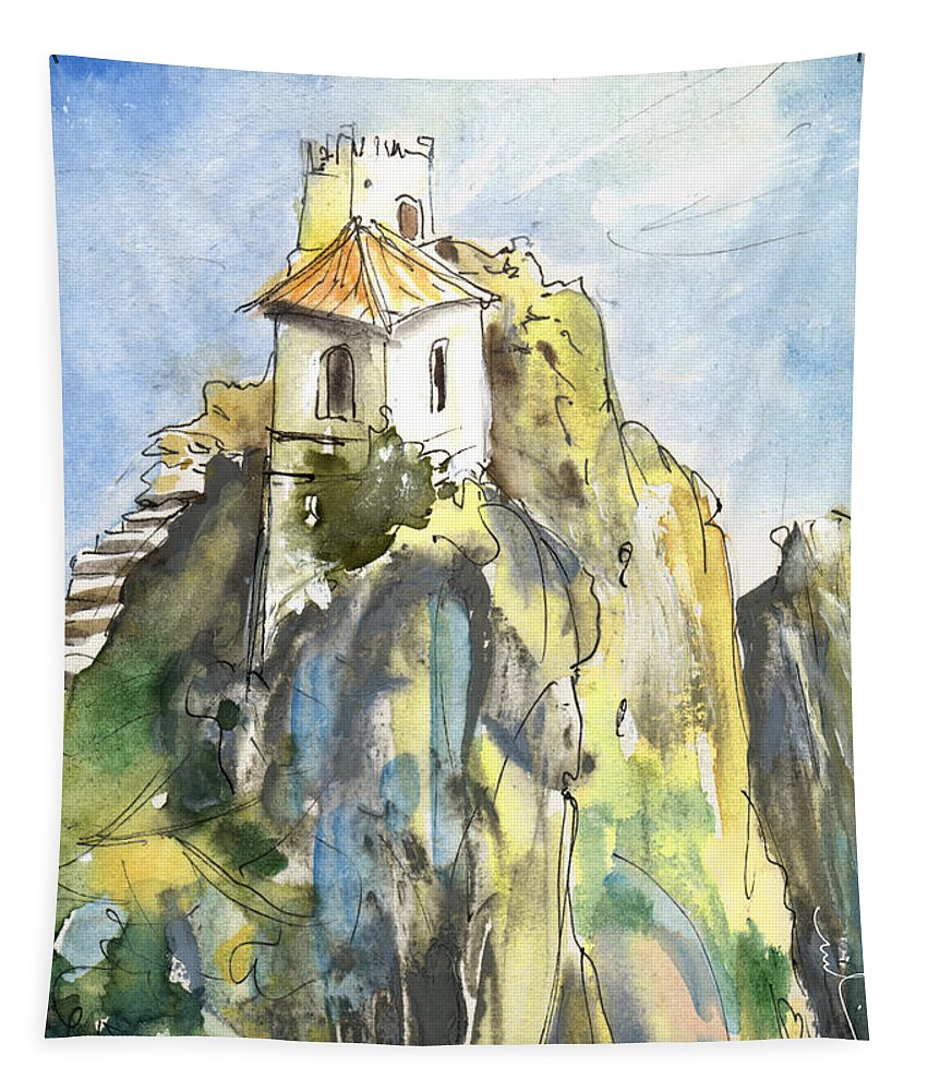 Travel Tapestry featuring the painting Guadalest 04 by Miki De Goodaboom