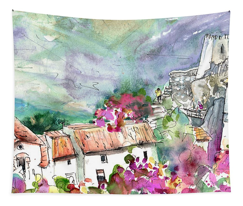 Travel Tapestry featuring the painting Guadalest 06 by Miki De Goodaboom