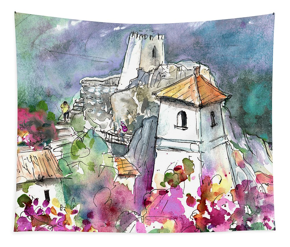 Travel Tapestry featuring the painting Guadalest 07 by Miki De Goodaboom