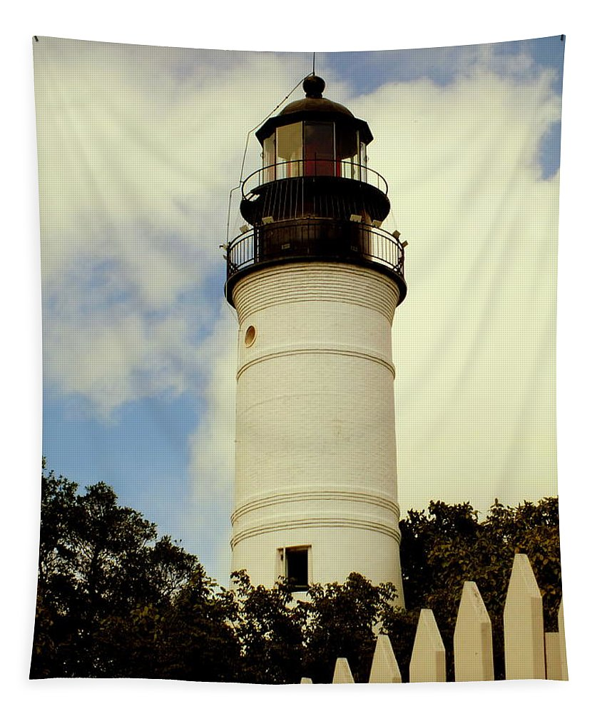 Lighthouses Tapestry featuring the photograph Guiding Light Of Key West by Karen Wiles
