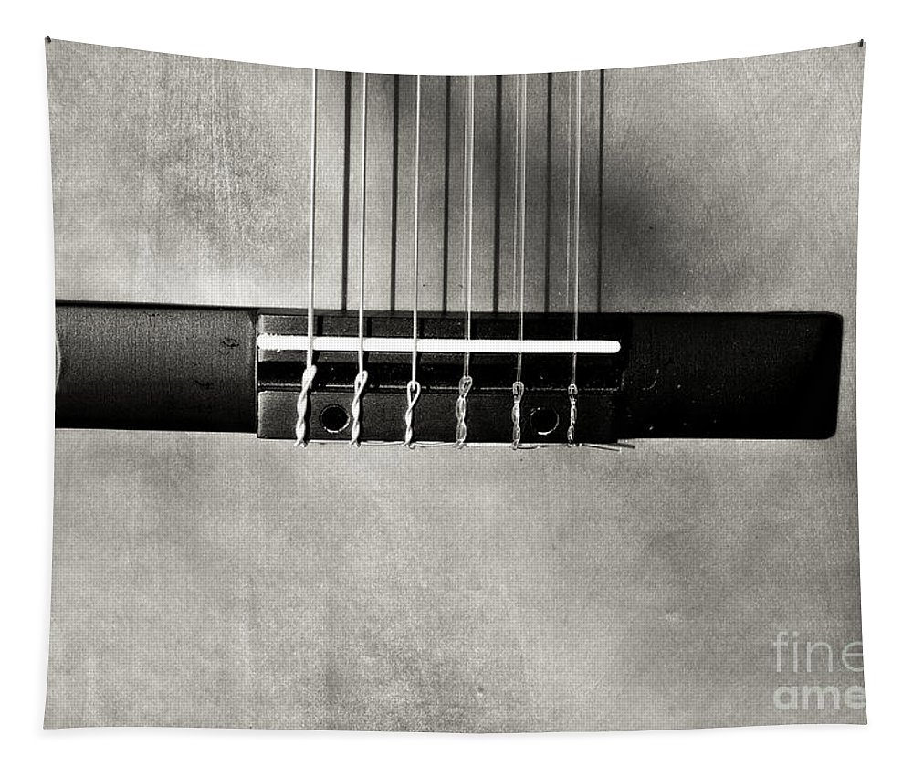 B&w Tapestry featuring the photograph Guitar Abstract In Monochrome by Gary Richards
