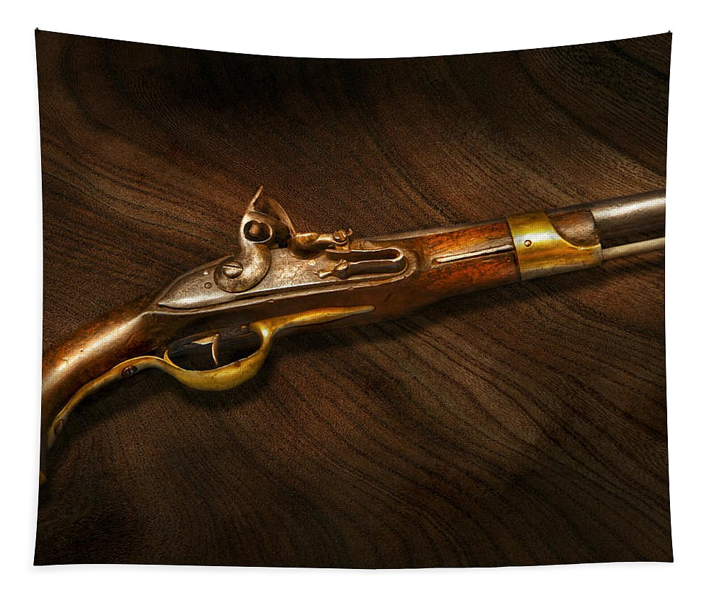 Pistol Tapestry featuring the photograph Gun - Pistols At Dawn by Mike Savad