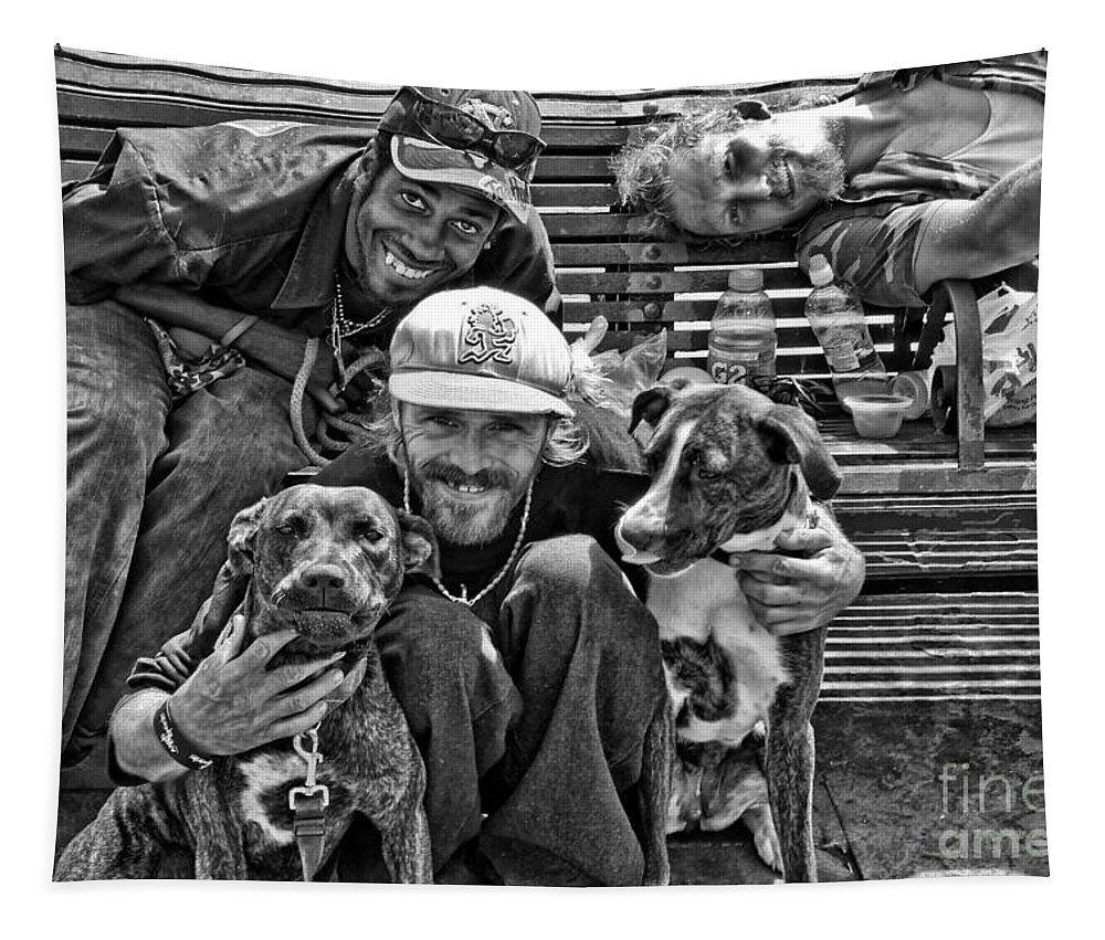 Transient Tapestry featuring the photograph Guys Dogs Bench In Jackson Square - Bw by Kathleen K Parker