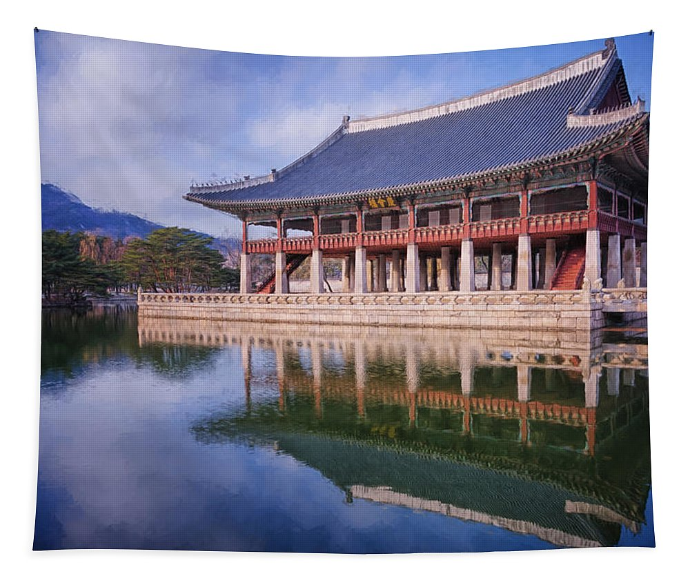 Joan Carroll Tapestry featuring the photograph Gyeonghoeru Pavilion by Joan Carroll