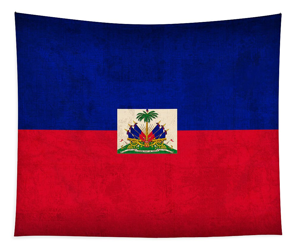 Haiti Tapestry featuring the mixed media Haiti Flag Vintage Distressed Finish by Design Turnpike