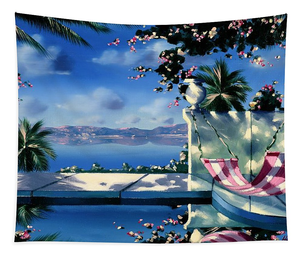 Holiday Tapestry featuring the painting Halcyon Days by Andrew Hewkin