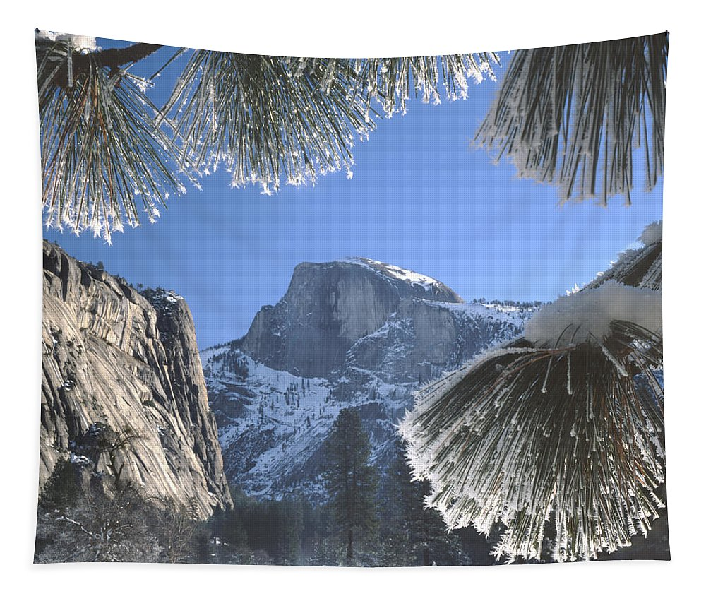 Halfdome Tapestry featuring the photograph 2m6757-halfdome In Winter by Ed Cooper Photography