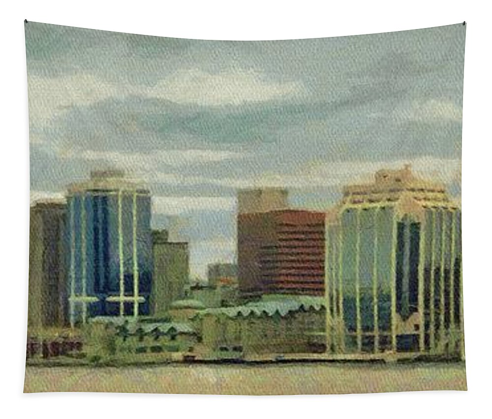 Halifax Tapestry featuring the painting Halifax From The Harbour by Jeffrey Kolker
