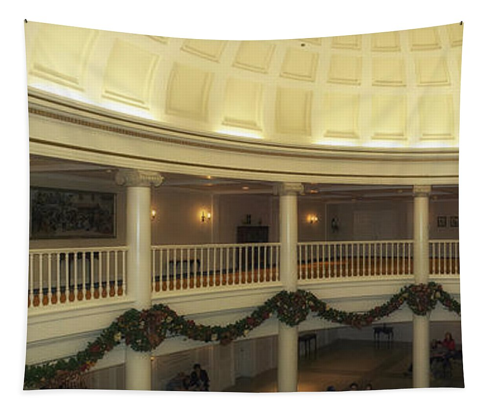 Panorama Tapestry featuring the photograph Hall Of Presidents Walt Disney World Panorama by Thomas Woolworth