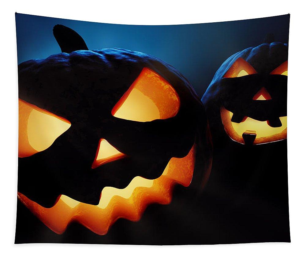 Halloween Tapestry featuring the photograph Halloween Pumpkins Closeup - Jack O'lantern by Johan Swanepoel