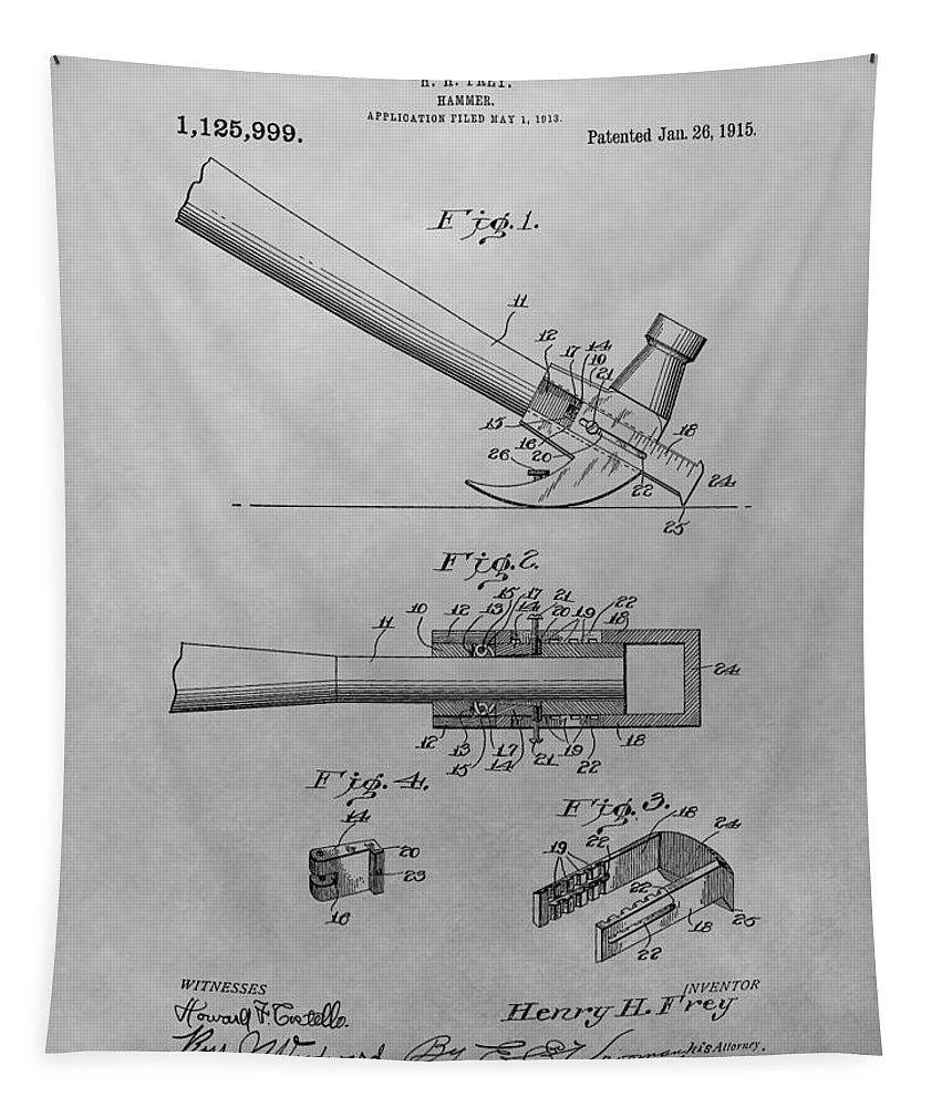 Vintage Hammer Patent Tapestry featuring the drawing Hammer Patent by Dan Sproul
