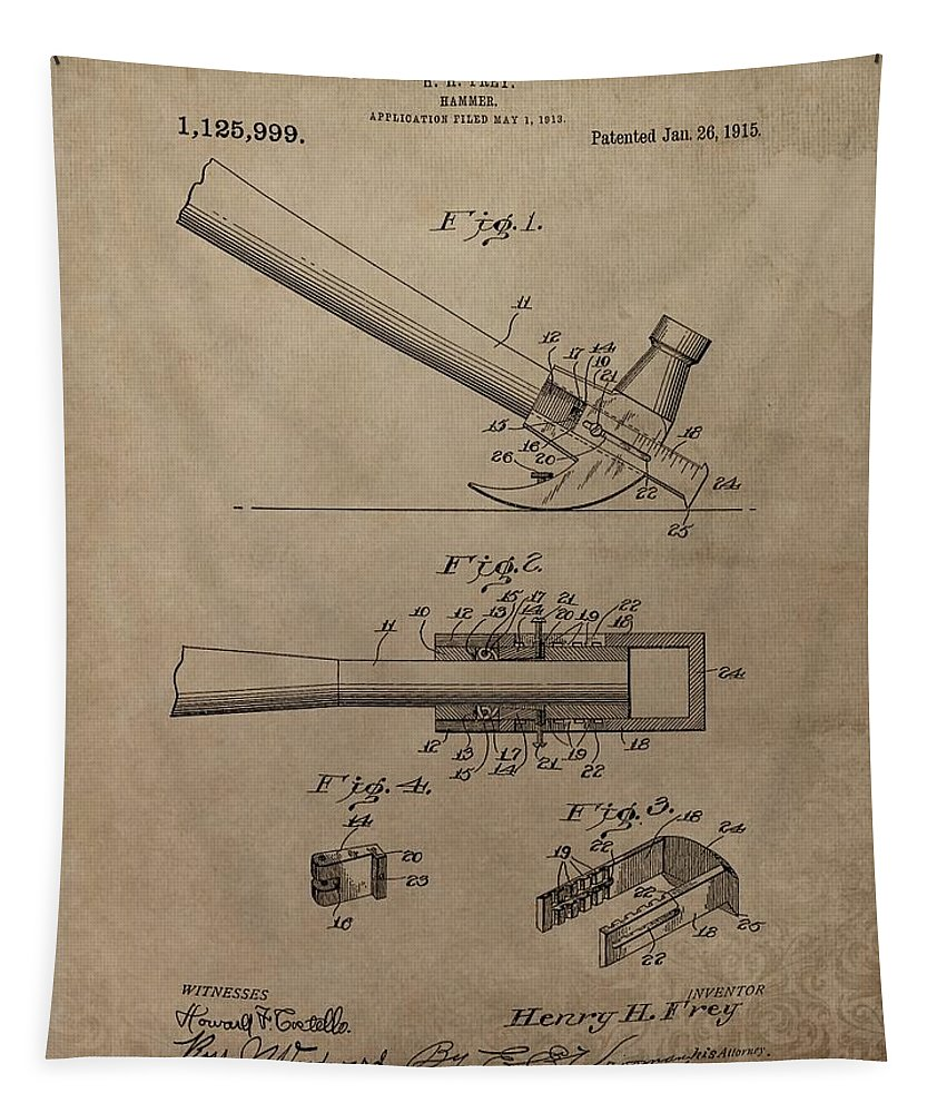 Vintage Hammer Patent Tapestry featuring the mixed media Hammer Patent Drawing by Dan Sproul