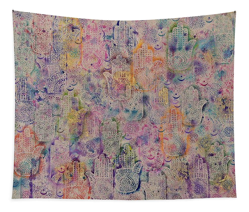 Hamesh Hand Tapestry featuring the painting Hands Of Fatima by Laila Shawa