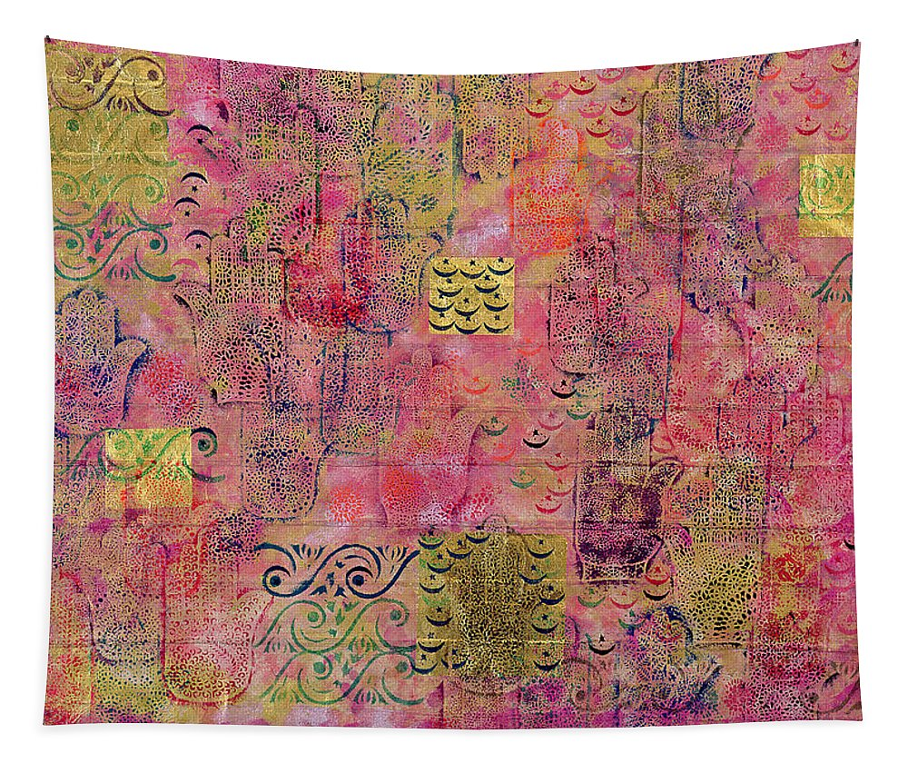 Hamesh Hand Tapestry featuring the painting Hands Of Fatima With Crescent Moon And Stars by Laila Shawa