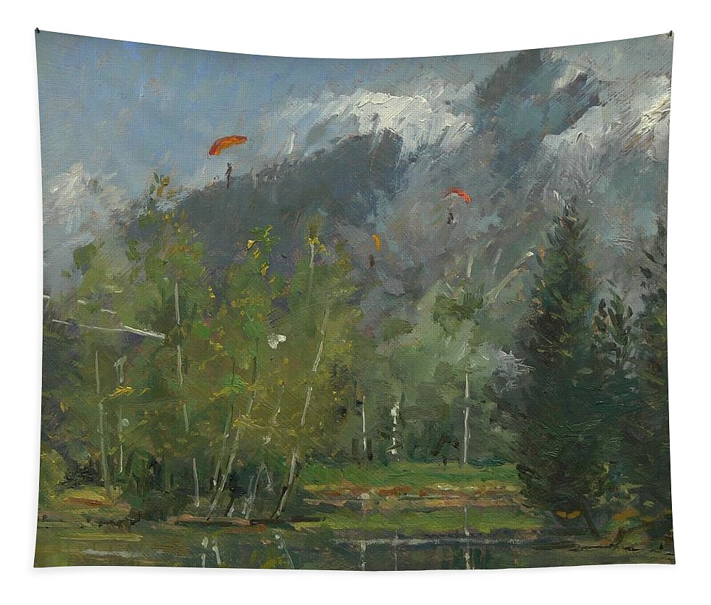 Glider Tapestry featuring the photograph Hang Gliders At Chamonix, 2007 Oil On Canvas by Pat Maclaurin