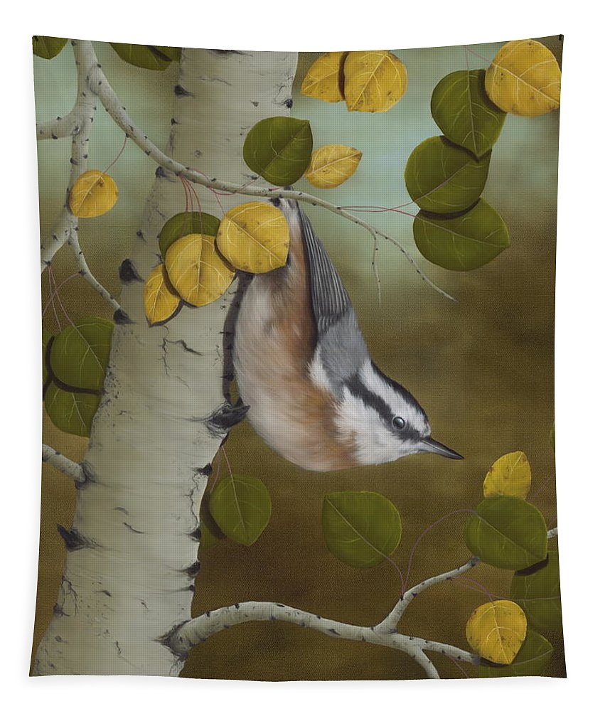 Animals Tapestry featuring the painting Hanging Around-Red Breasted Nuthatch by Rick Bainbridge