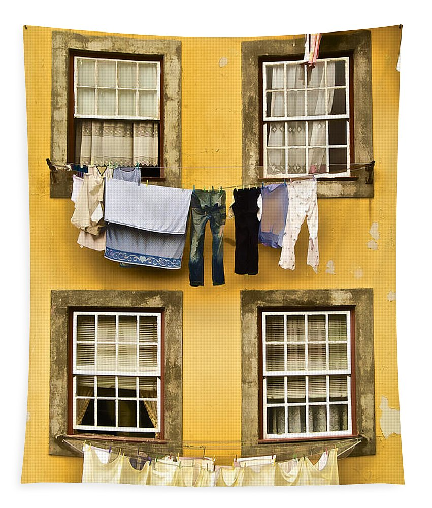 Art Tapestry featuring the photograph Hanging Clothes Of Old World Europe by David Letts