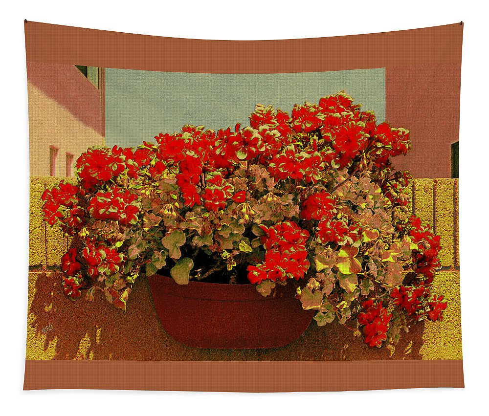 Floral Still Life Tapestry featuring the photograph Hanging Pot With Geranium by Ben and Raisa Gertsberg