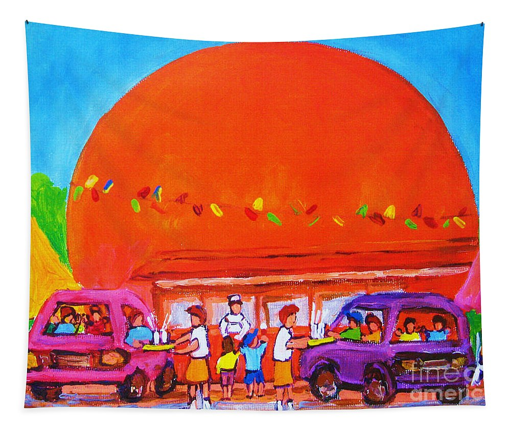 Montreal Tapestry featuring the painting Happy Days At The Big Orange by Carole Spandau