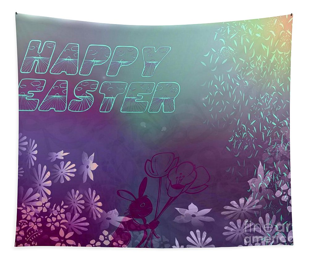 Art Tapestry featuring the digital art Happy Easter Bunny by Linda Galok