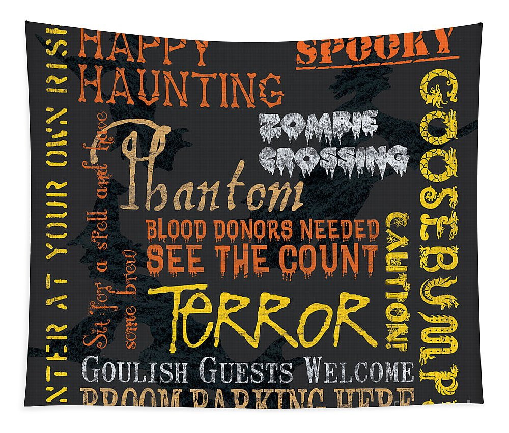 Halloween Tapestry featuring the painting Happy Haunting by Debbie DeWitt