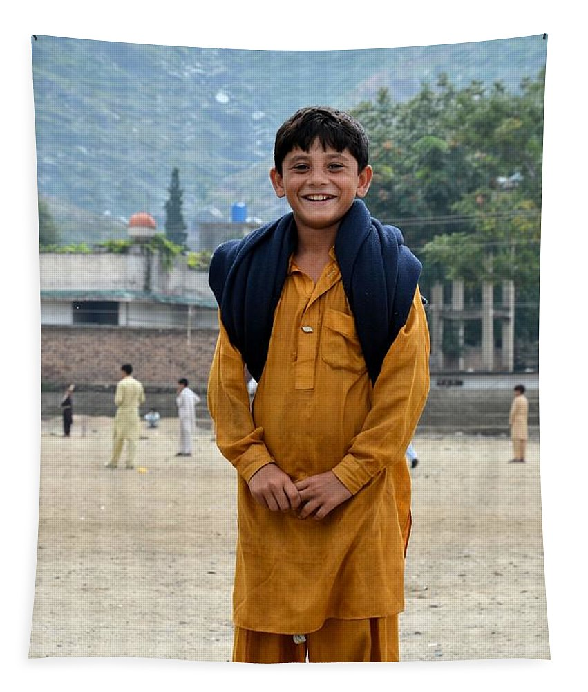 Boy Tapestry featuring the photograph Happy Laughing Pathan Boy In Swat Valley Pakistan by Imran Ahmed