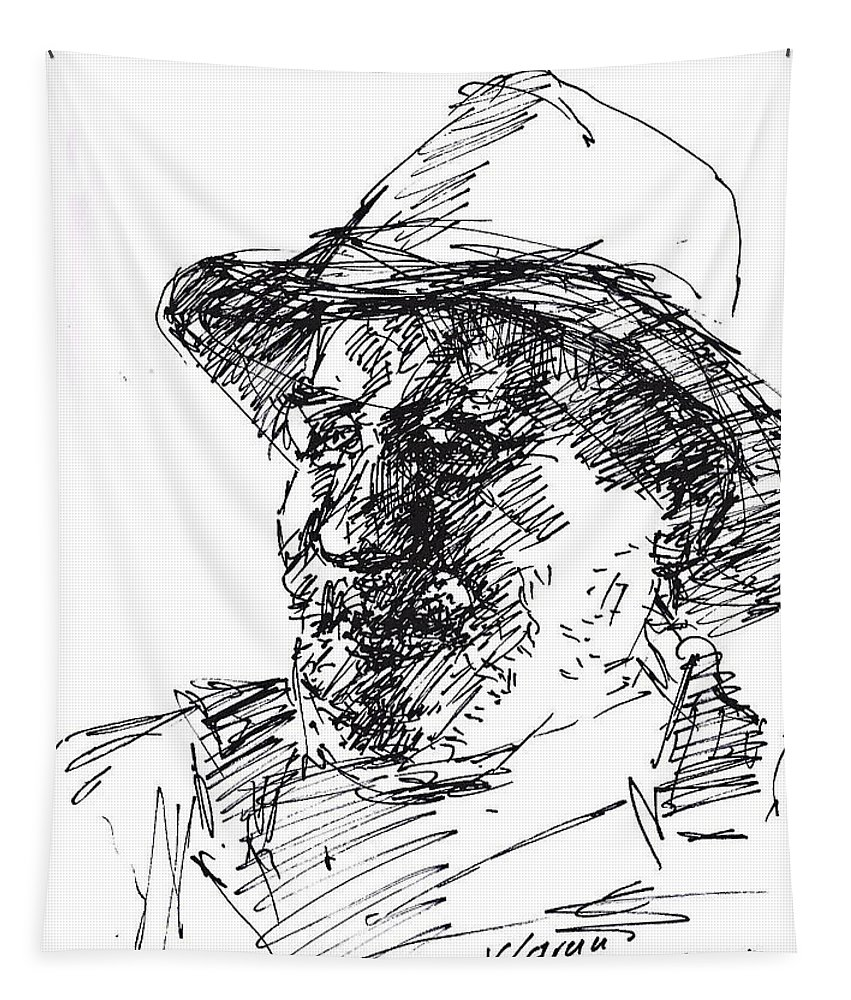Man Tapestry featuring the drawing Happy Roger by Ylli Haruni
