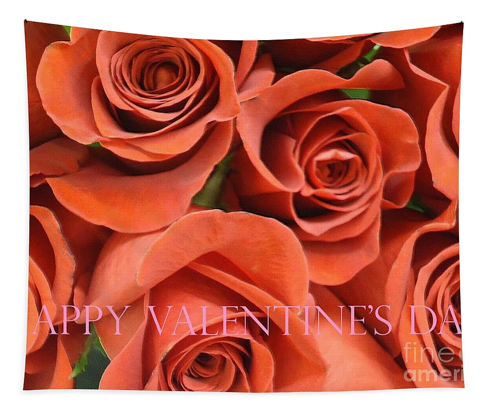 Roses Tapestry featuring the photograph Happy Valentine's Day Pink Lettering On Orange Roses by Barbie Corbett-Newmin