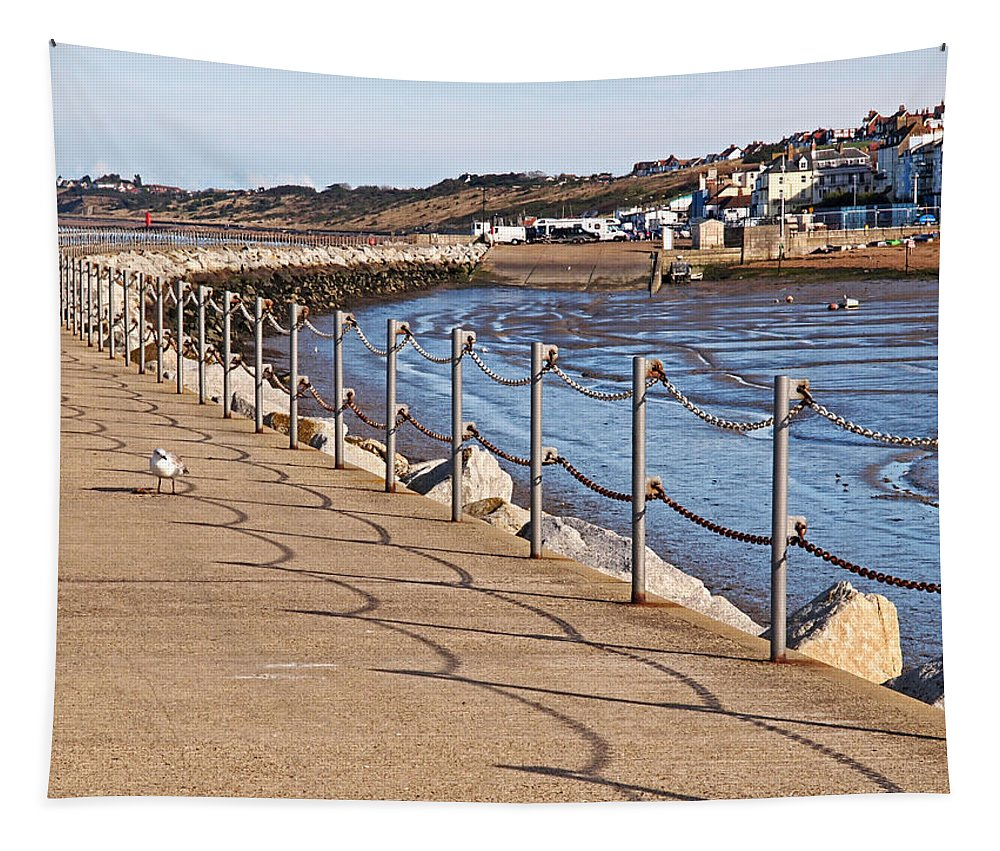 Seascape Tapestry featuring the photograph Harbour Wall Promenade by Gill Billington