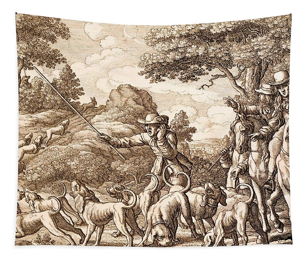 Hunt Tapestry featuring the painting Hare Hunting, Engraved By Wenceslaus by Francis Barlow