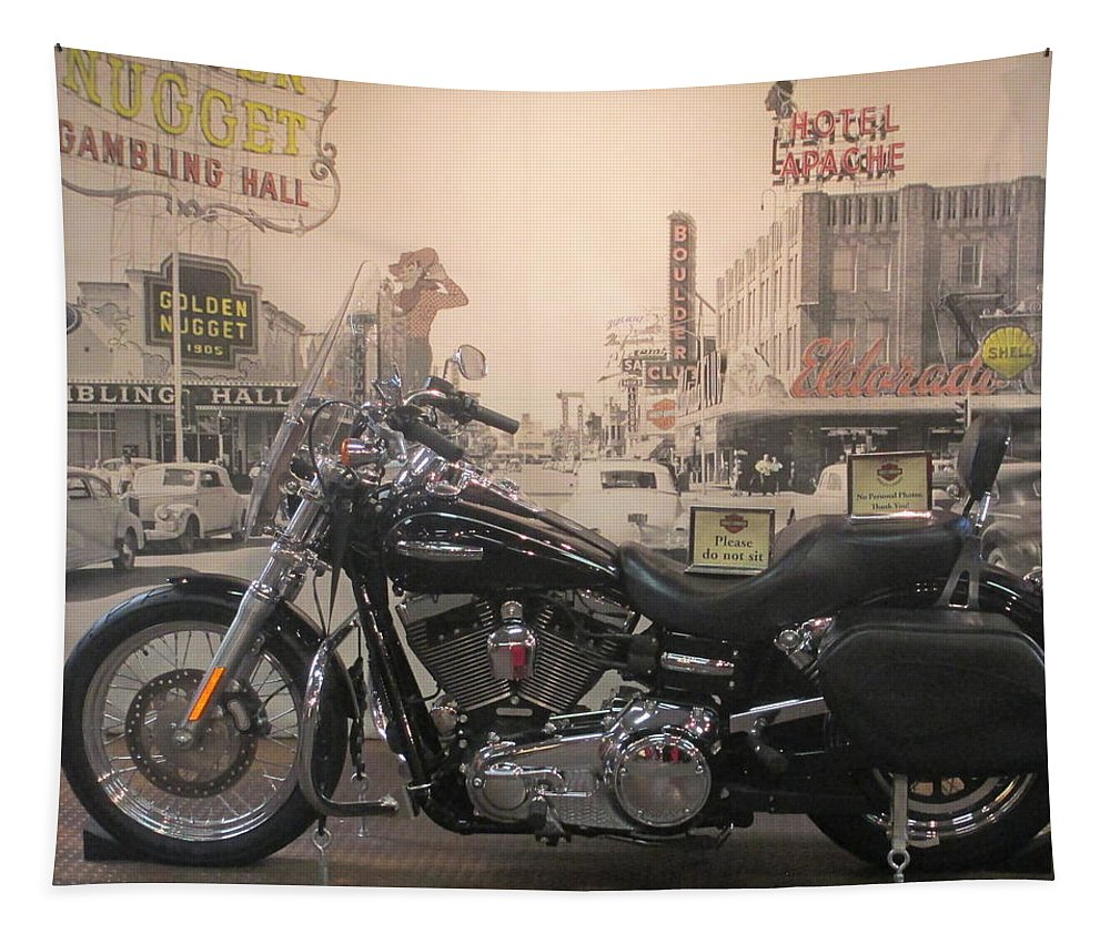 Harley Tapestry featuring the photograph Harley With Vintage Las Vegas by Kay Novy