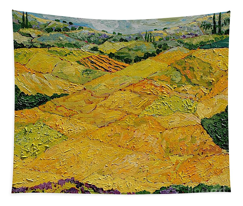 Landscape Tapestry featuring the painting Harvest Joy by Allan P Friedlander